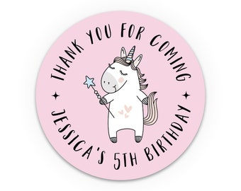 Unicorn birthday stickers party favor sticker, Personalised Round Sticker, Kids Birthday Sticker, Custom stickers, Thank you stickers