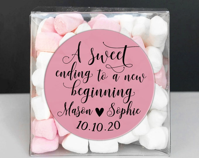 A sweet ending to a new beginning sticker wedding favour stickers, Custom stickers round thank you stickers, Personalized wedding stickers