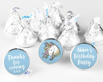 Unicorn stickers birthday hershey kiss sticker, Personalised hershey kiss labels, Thank you for coming to my party stickers