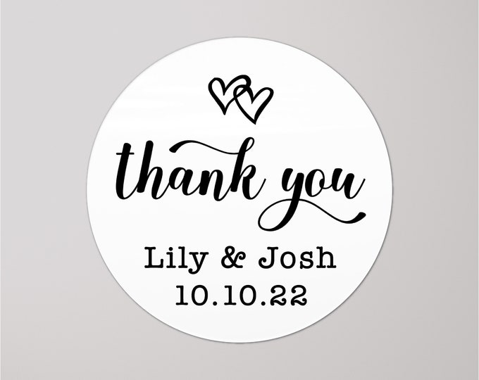 Personalized wedding thank you favor stickers, Thank you round labels,  Custom wedding favor labels, Party favor stickers round stickers