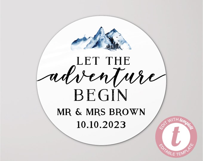 Let the adventure begin custom wedding thank you stickers labels, Wedding stickers for favours, Adventure awaits stickers