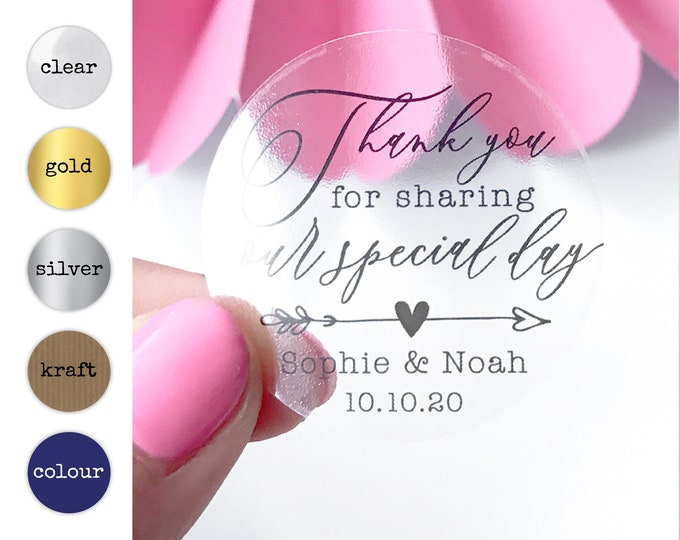 Featured listing image: Personalized Transparent Thank You Stickers, Thank You Note Envelope Seals, Clear Custom Wedding Thank You Labels, Shower Favor Sticker