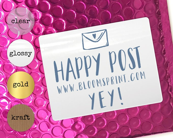 Happy post stickers personalised stickers, Round packaging stickers set, Small business labels, Custom stickers