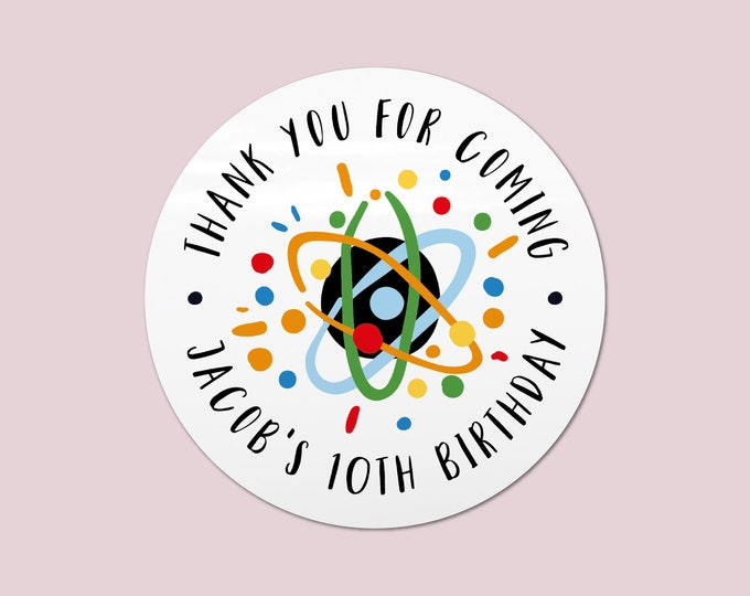 Science birthday party favors stickers, Science theme thank you stickers, Custom stickers party favor tag, Science lab party