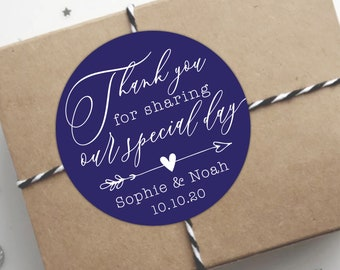 Personalised wedding thank you stickers, Custom stickers by Blooms