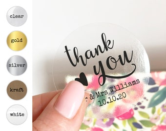 Custom wedding stickers labels for wedding favors, Wedding thank you stickers, Personalised sticker, Party favor stickers, Thank you labels
