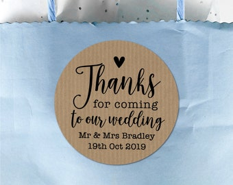 Thank You For Coming Stickers, Round Sticker Labels, Thank You Favour Stickers, Favor Bag Stickers, Wedding Stationary, Custom Stickers Name