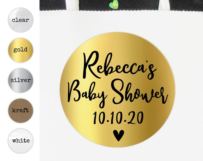 Gold baby shower thank you stickers and labels, Baby shower labels, Baby shower favors, Personalized favor sticker, Baby shower favours
