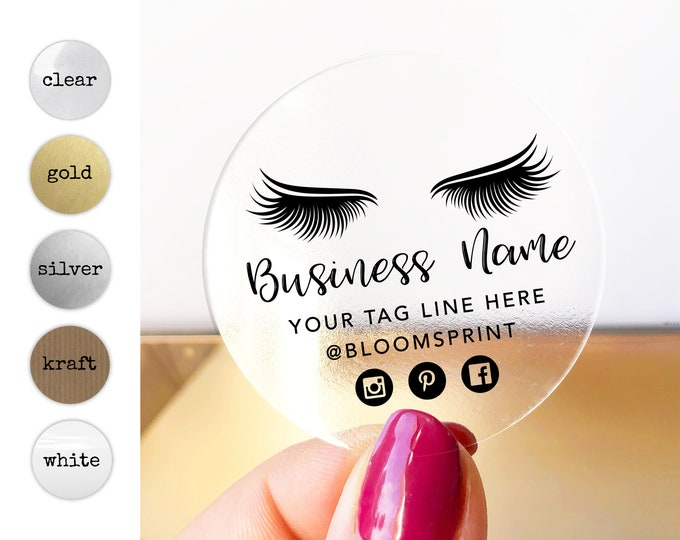 Custom logo design modern logo sticker business logo lash extensions elegant logo, Makeup artist logo, eyelashes, Your text here stickers