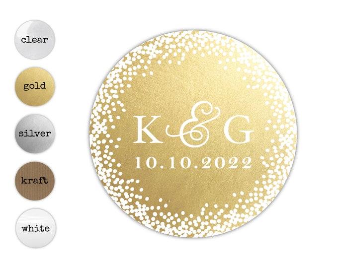 Custom monogram wedding envelope initial seals stickers labels, Round transparent stickers, Custom sticker labels, Wedding invitation seal