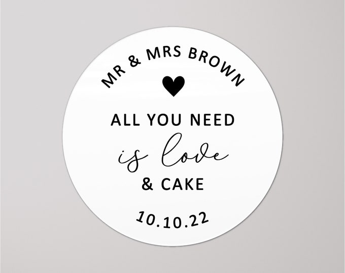 Wedding favor thank you all you need is love and cake stickers, Personalized wedding cake favor sticker, Wedding gift seal stickers