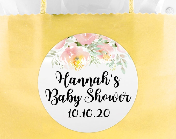 Personalised baby shower stickers, Baby shower labels, Thank you stickers, Baby shower favors, Shower favor stickers, Round stickers