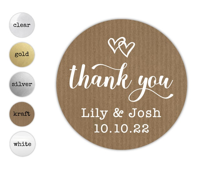 Personalized Thank You For Celebrating With Us Stickers, Custom Round Party Favor Labels, Wedding Decals for Favors, Kraft Sticker Labels