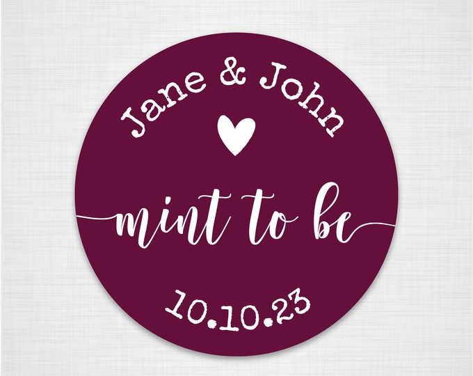 Custom round thank you stickers labels mint wedding favors sticker labels, Tic tac labels, Mint to be labels, Wedding heart stickers - RW38