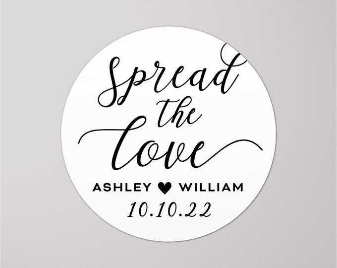 Spread the love wedding stickers, Spread the love tags, Wedding jam labels, Wedding favour stickers, Custom stickers for party favors,