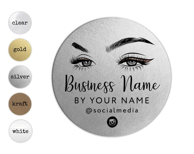 Custom logo design modern logo sticker business logo lash extensions elegant logo, Makeup artist logo, eyelashes, Your text here stickers
