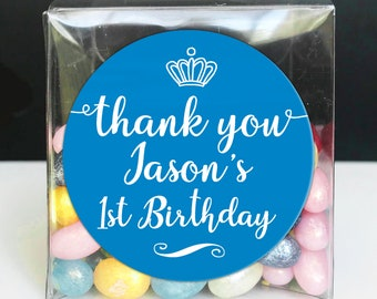 Personalised custom thank you stickers first birthday favor, Happy birthday labels, Round gift sticker, 1st birthday party stickers