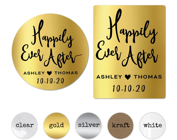 Personalized Happily Ever After Wedding Favor Stickers, Wedding Envelope Seals, Wedding Thank You Labels, Custom Engagement Party Stickers