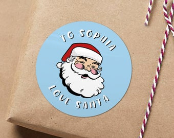 Santa Gift Tags Favors Christmas Stickers from Santa Father Christmas Gift Tag Customized Christmas Tags Personalized Xmas Crafts Labels