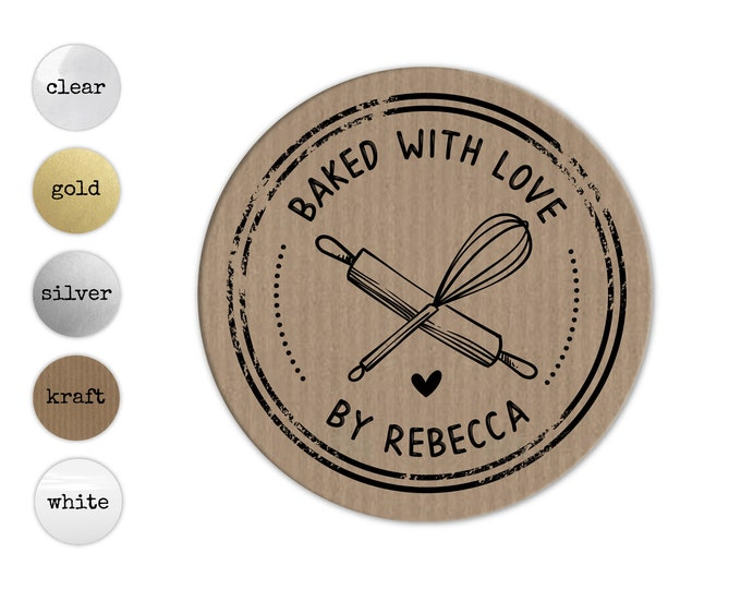 Backed with love stickers, Personalized Sticker Sheets, Custom Business Labels, Colorful Packaging Decals, Envelope Seals