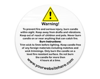 Personalised candle warning label jar label, Candle making product label, Round product label warning sticker, Custom product label