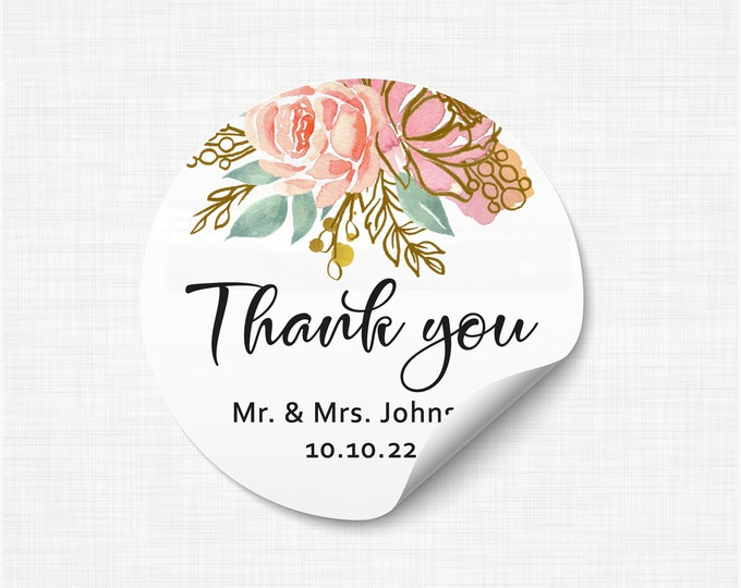 Personalized custom sticker labels thank you stickers, Round welcome name stickers, Gloss stickers, Wedding favor - WC07