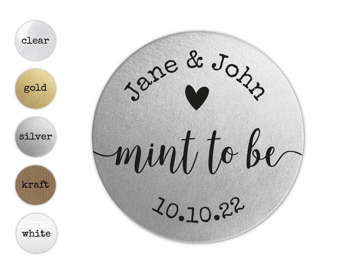 Custom round thank you stickers labels mint wedding favors sticker labels, Tic tac labels, Mint to be labels, Wedding heart stickers