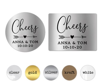 Cheers wedding stickers for glasses, Personalised wedding stickers, Round gold stickers