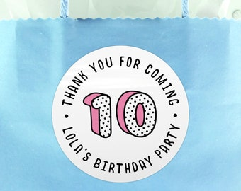 Happy birthday party stickers, Thank you for coming to my party, Stickers for party favor bags, Custom birthday party labels