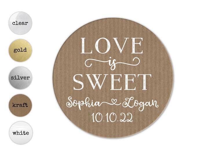 Love Is Sweet Stickers, Sticker For Jar, Wedding Favor Jar Sticker, Wedding Favours Stickers, Party Favor Wedding, Custom Sticker Wedding