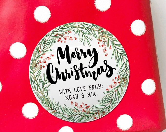 Merry Christmas Tin Sign Jar Stickers Christmas Stickers for Shadow Boxes Labels Stickers for Bottles Christmas Tags Personalized Name Tags