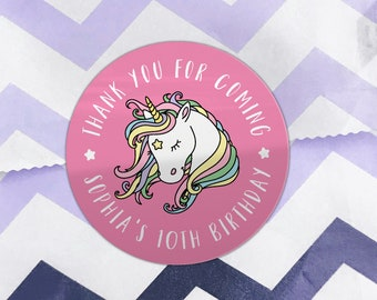 Unicorn happy birthday party thank you stickers, Personalised birthday stickers, Kid party favor round stickers, Custom unicorn party favor