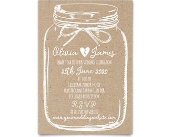 Mason jar wedding invitations suite rustic wedding invites, Mason jar invitation, Country wedding rustic invitation, Mason jar invite