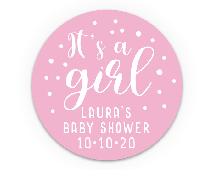 It's a girl stickers, Baby shower labels by Blooms