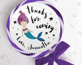 Mermaid happy birthday party thank you stickers, Personalised birthday stickers, Kid party favor round stickers, Custom unicorn party favor