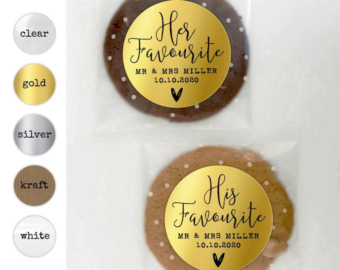 His and Hers Wedding Thank You stickers Her favorite sticker, His favorite sticker, His her favorite sticker, Wedding welcome bag stickers