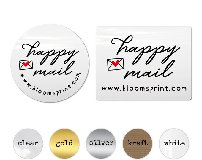 Happy Mail Custom Website Address Stickers, Personalized Business Packaging Decals, Etsy Shop Package Labels, Small Business Envelope Seals