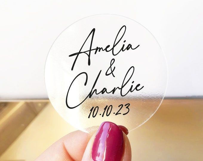 Personalized Name & Date Wedding Stickers, Invitation Envelope Seals, Thank You Card Labels, Wedding Favor Tags, Bridal Shower Stickers