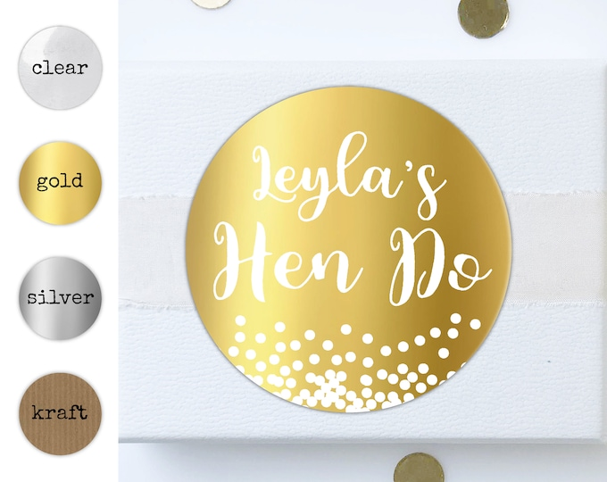 Personalised hen party stickers, Hen do accessories, Hen do sticker large, Hen party stickers round stickers, Team bride, Hen party favours