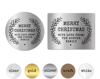 Personalised Stickers Christmas Gift Tags for Favors Merry Christmas Stickers Round Christmas Address Labels Embossed Gift Wrapping Topper