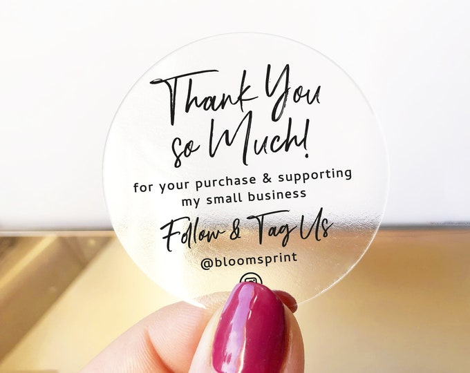 Thank you for supporting a small business stickers, Thank you packaging stickers, Custom sticker labels for envelopes - BS51