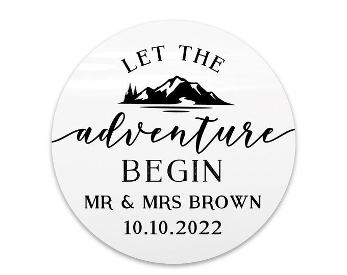 Let the adventure begin stickers labels, Wedding stickers for favours, Custom thank you stickers, Adventure awaits mountain stickers