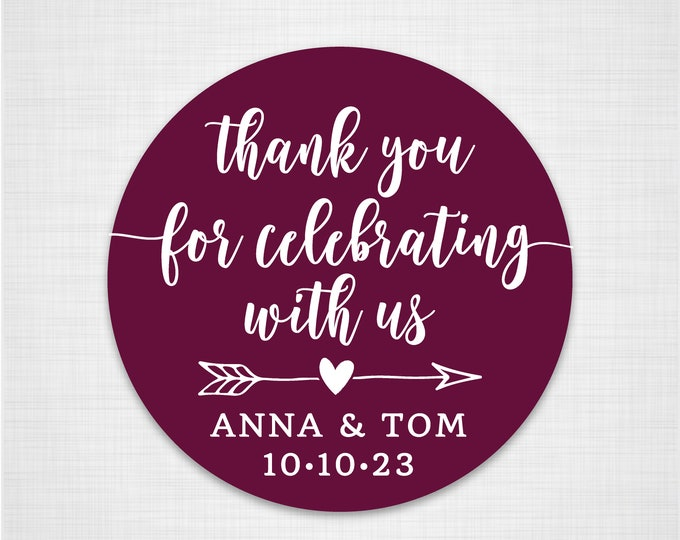 Personalized Thank You Sticker Labels, Custom Wedding Thank You Labels, Shower Favor Sticker, Wedding stickers for favors - RW62
