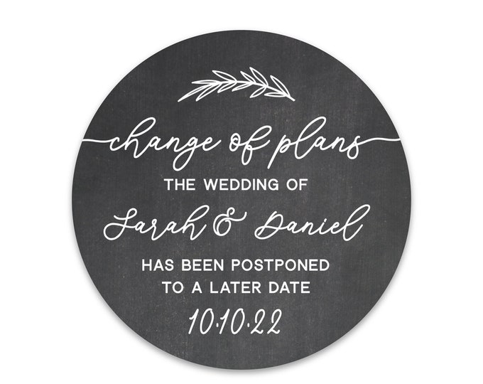 Change of plans wedding stickers, Save the date label tags, Personalised label stickers, Round stickers labels, Save the date ideas
