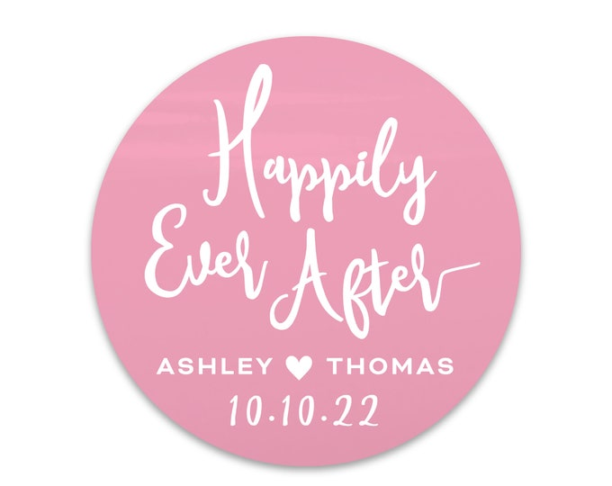 Custom thank you wedding labels stickers envelope seal stickers, Personalized happily ever after sticker, Wedding thank you labels stickers