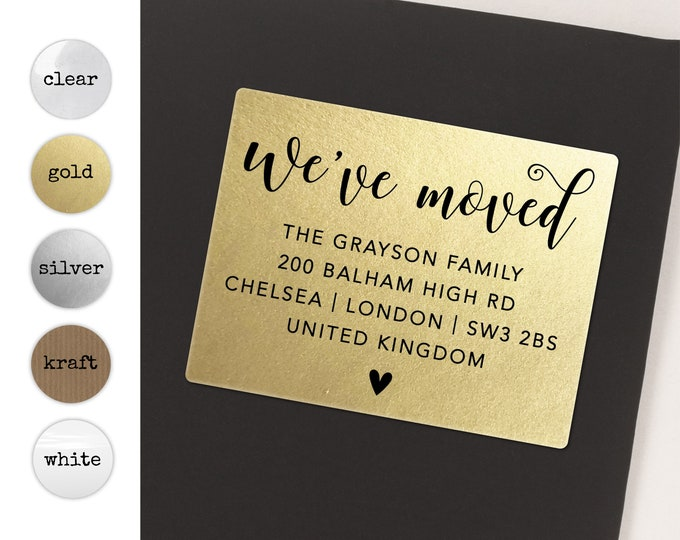 We've moved custom return address clear sticker labels, We've moved labels,  Personalized return address sticker, Gold sticker, 20 stickers