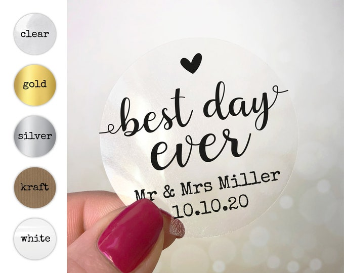 Personalised best day ever sticker labels stickers, Personalized custom stickers, Wedding favour stickers, Thank you wedding stickers