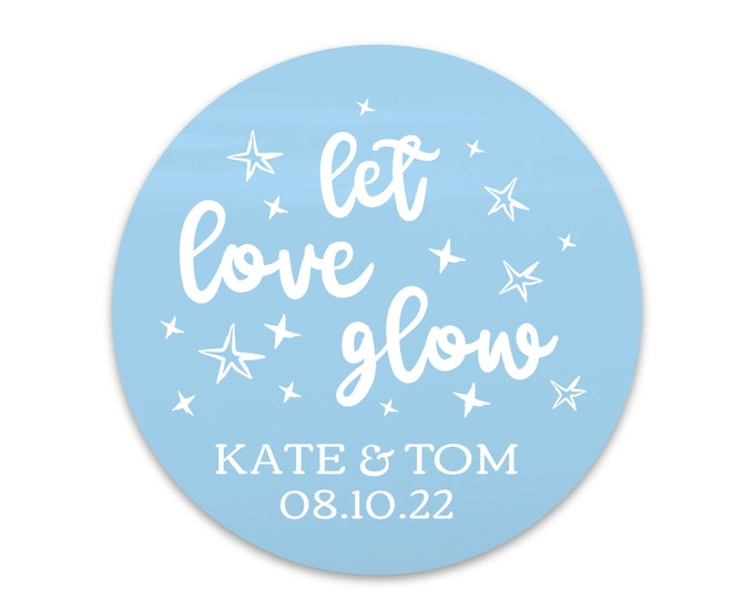 Let love glow custom stickers for candle stickers wedding, Mason jar labels wedding, Thank you stickers for wedding favours round stickers