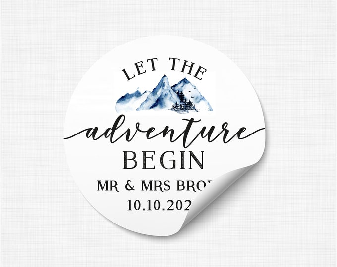 Let the adventure begin custom wedding thank you stickers labels, Wedding stickers for favours, Adventure awaits stickers - WC01