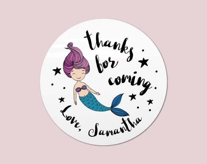 Mermaid stickers personalised labels for birthday, Girls party favors, Custom name stickers, Thank you for coming to my party stickers